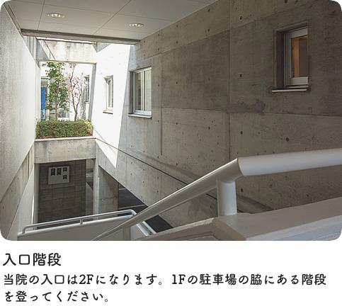 入口階段|当院の入口は2Fになります。1F駐車場の脇にある階段を登ってお入りください。